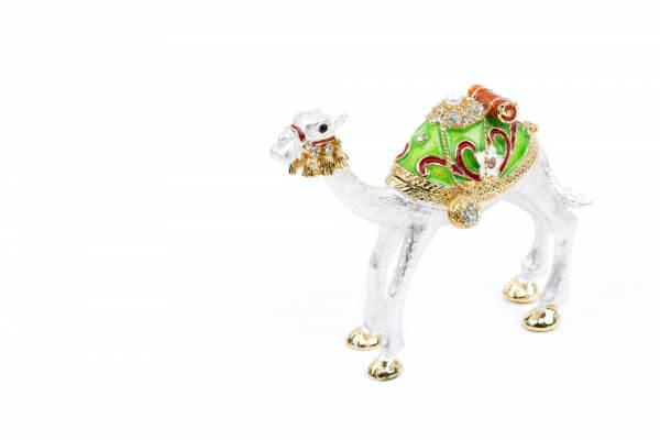 Silver camel on a white background