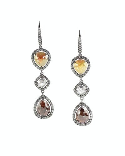 Yellow gold and diamond earrings with quartz amber
